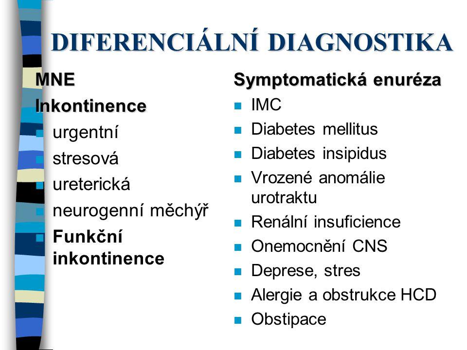 DIFERENCIÁLNÍ DIAGNOSTIKA MNEInkontinence n urgentní n stresová n ureterická n neurogenní měchýř n Funkční inkontinence Symptomatická enuréza n IMC n