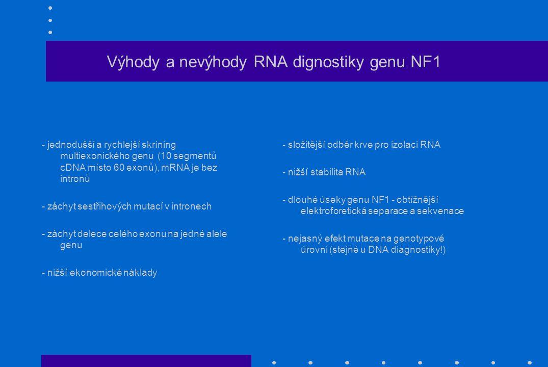 Výhody a nevýhody RNA dignostiky genu NF1 - jednodušší a rychlejší skríning multiexonického genu (10 segmentů cDNA místo 60 exonů), mRNA je bez intronů - záchyt sestřihových mutací v intronech - záchyt delece celého exonu na jedné alele genu - nižší ekonomické náklady - složitější odběr krve pro izolaci RNA - nižší stabilita RNA - dlouhé úseky genu NF1 - obtížnější elektroforetická separace a sekvenace - nejasný efekt mutace na genotypové úrovni (stejné u DNA diagnostiky!)