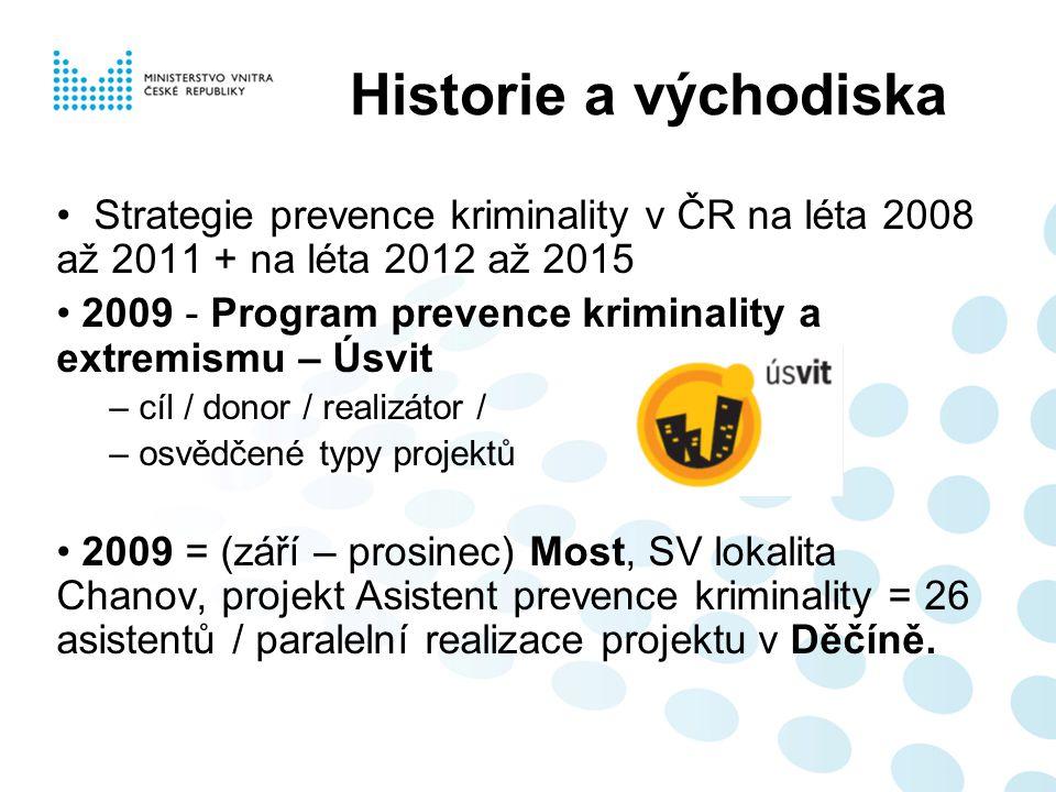 Historie a východiska Strategie prevence kriminality v ČR na léta 2008 až 2011 + na léta 2012 až 2015 2009 - Program prevence kriminality a extremismu