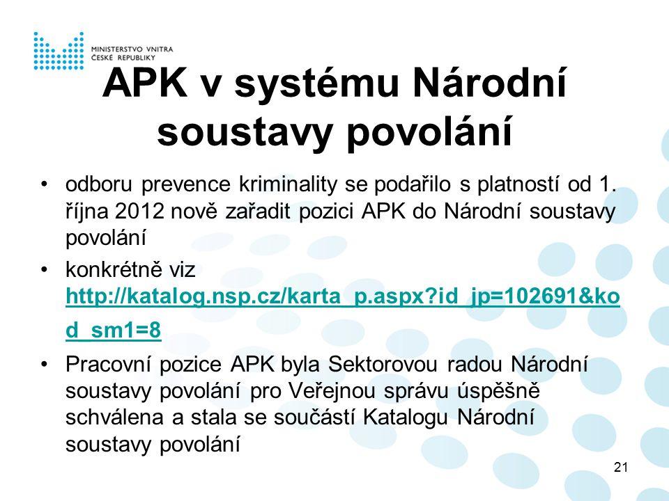 APK v systému Národní soustavy povolání odboru prevence kriminality se podařilo s platností od 1. října 2012 nově zařadit pozici APK do Národní sousta