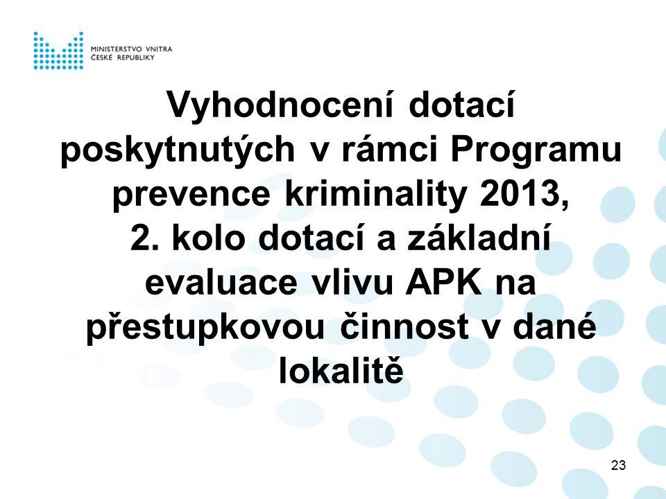 23 Vyhodnocení dotací poskytnutých v rámci Programu prevence kriminality 2013, 2. kolo dotací a základní evaluace vlivu APK na přestupkovou činnost v
