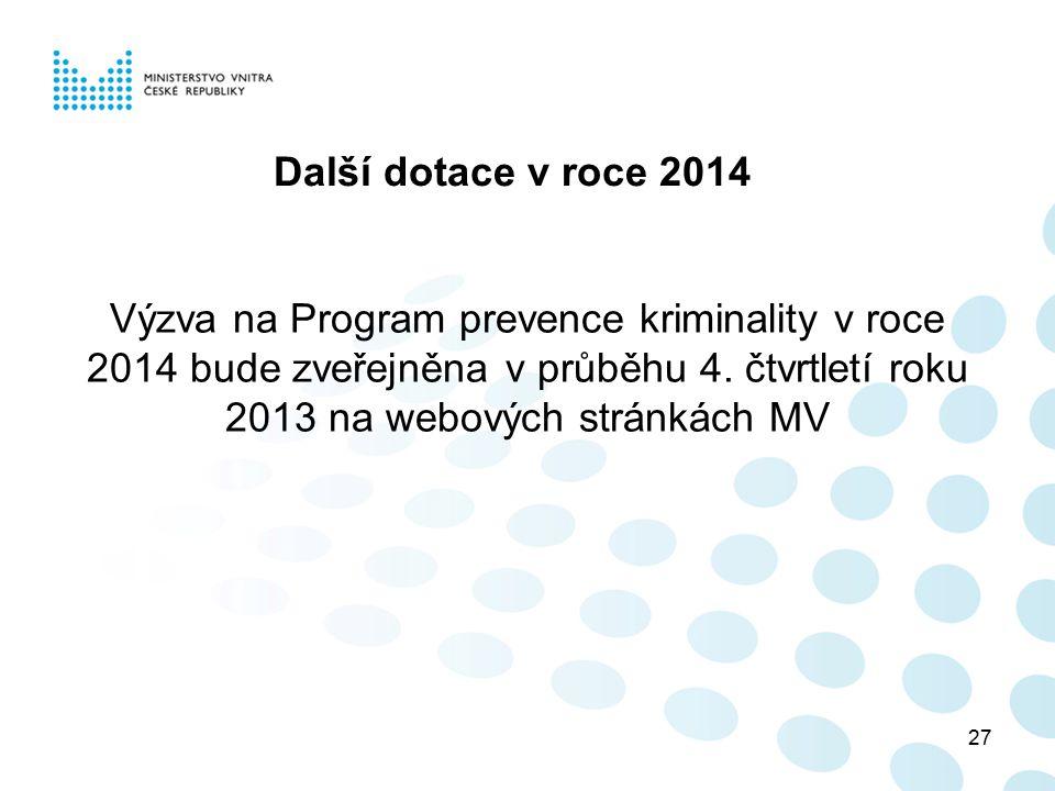 27 Další dotace v roce 2014 Výzva na Program prevence kriminality v roce 2014 bude zveřejněna v průběhu 4. čtvrtletí roku 2013 na webových stránkách M