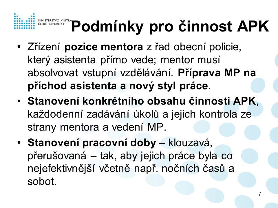 7 Podmínky pro činnost APK Zřízení pozice mentora z řad obecní policie, který asistenta přímo vede; mentor musí absolvovat vstupní vzdělávání. Příprav