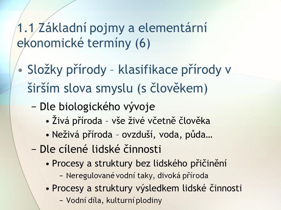 1.1 Základní pojmy a elementární ekonomické termíny (6) Složky přírody – klasifikace přírody v širším slova smyslu (s člověkem) −Dle biologického vývo