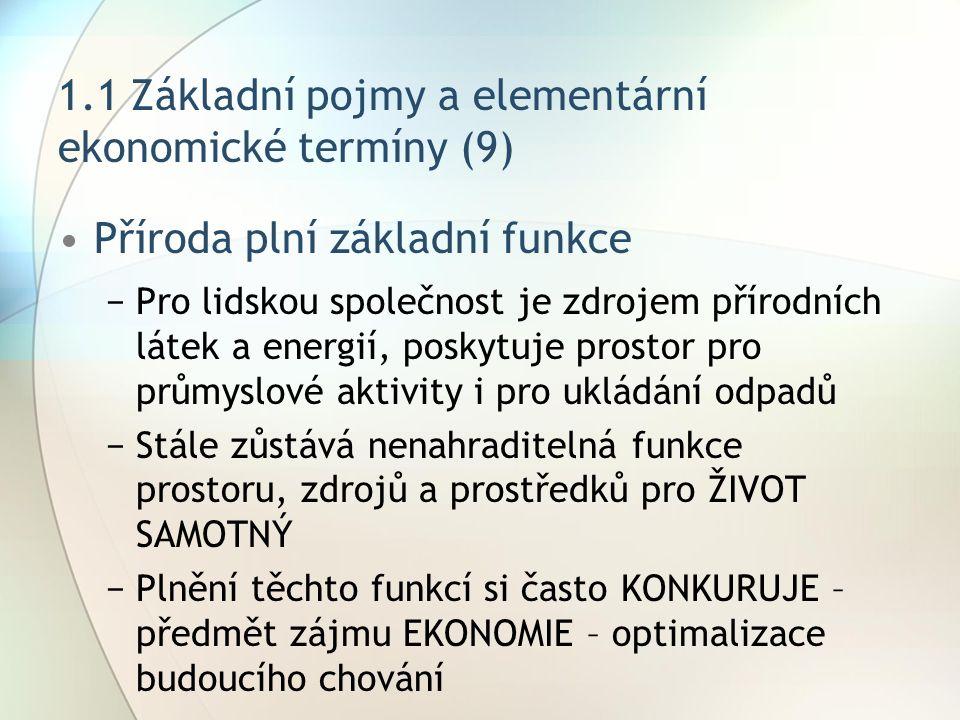 1.1 Základní pojmy a elementární ekonomické termíny (9) Příroda plní základní funkce −Pro lidskou společnost je zdrojem přírodních látek a energií, po