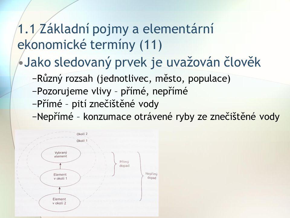 1.1 Základní pojmy a elementární ekonomické termíny (11) Jako sledovaný prvek je uvažován člověk −Různý rozsah (jednotlivec, město, populace) −Pozoruj