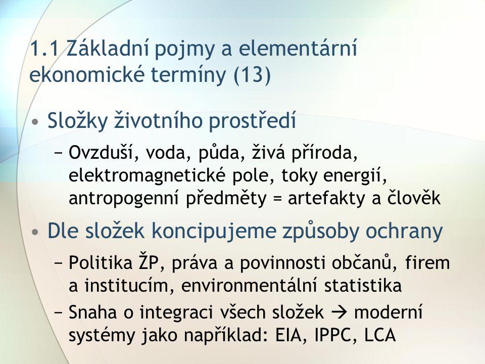 1.1 Základní pojmy a elementární ekonomické termíny (13) Složky životního prostředí −Ovzduší, voda, půda, živá příroda, elektromagnetické pole, toky e