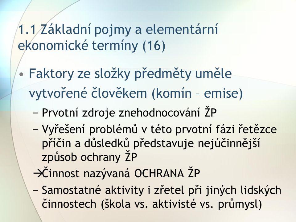 1.1 Základní pojmy a elementární ekonomické termíny (16) Faktory ze složky předměty uměle vytvořené člověkem (komín – emise) −Prvotní zdroje znehodnoc