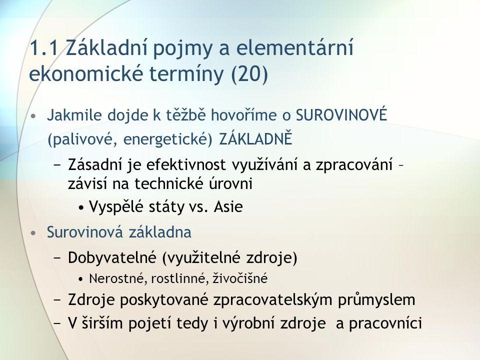 1.1 Základní pojmy a elementární ekonomické termíny (20) Jakmile dojde k těžbě hovoříme o SUROVINOVÉ (palivové, energetické) ZÁKLADNĚ −Zásadní je efek
