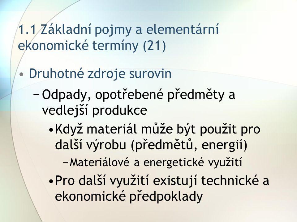1.1 Základní pojmy a elementární ekonomické termíny (21) Druhotné zdroje surovin −Odpady, opotřebené předměty a vedlejší produkce Když materiál může b