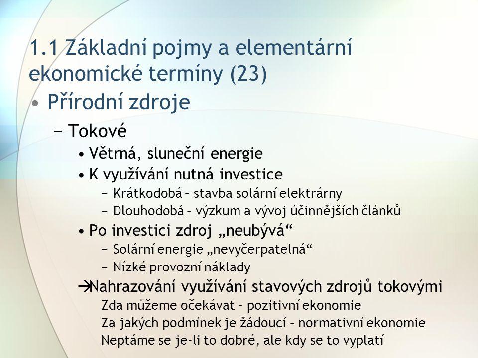 1.1 Základní pojmy a elementární ekonomické termíny (23) Přírodní zdroje −Tokové Větrná, sluneční energie K využívání nutná investice −Krátkodobá – st