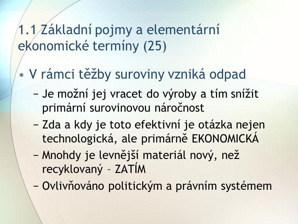 1.1 Základní pojmy a elementární ekonomické termíny (25) V rámci těžby suroviny vzniká odpad −Je možní jej vracet do výroby a tím snížit primární suro
