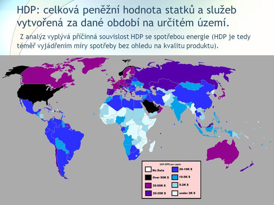 HDP: celková peněžní hodnota statků a služeb vytvořená za dané období na určitém území. Z analýz vyplývá příčinná souvislost HDP se spotřebou energie