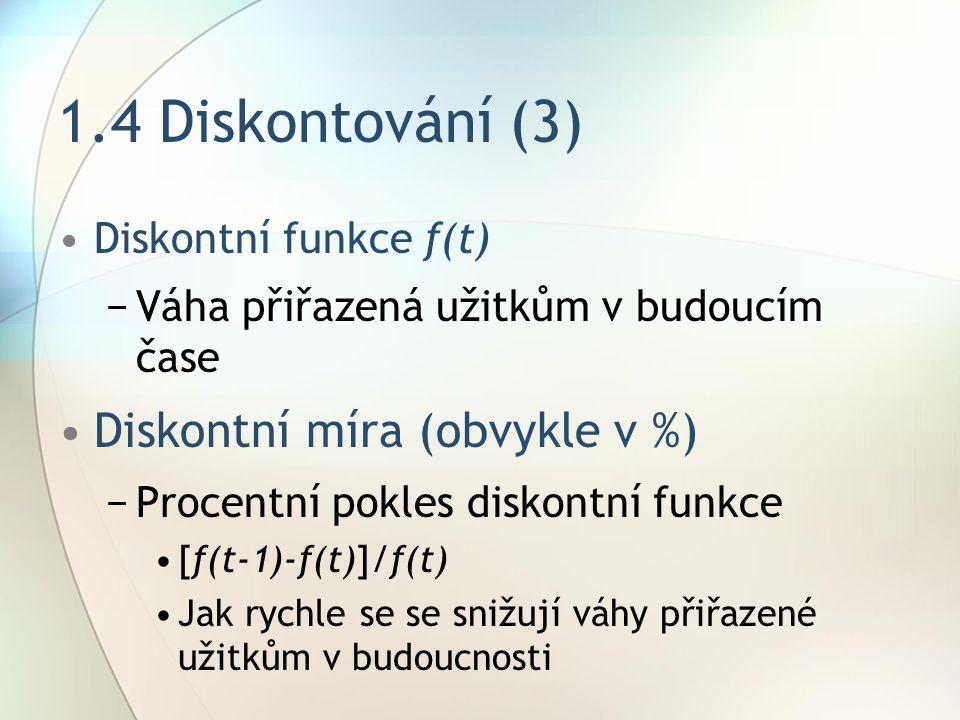 1.4 Diskontování (3) Diskontní funkce f(t) −Váha přiřazená užitkům v budoucím čase Diskontní míra (obvykle v %) −Procentní pokles diskontní funkce [f(