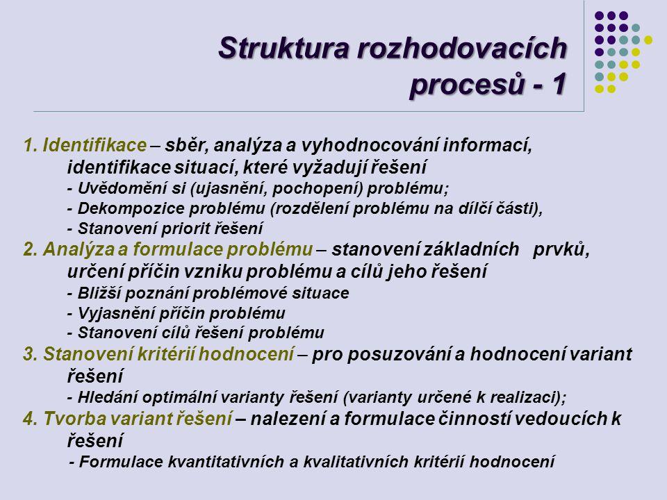 Struktura rozhodovacích procesů - 1 1. Identifikace – sběr, analýza a vyhodnocování informací, identifikace situací, které vyžadují řešení - Uvědomění