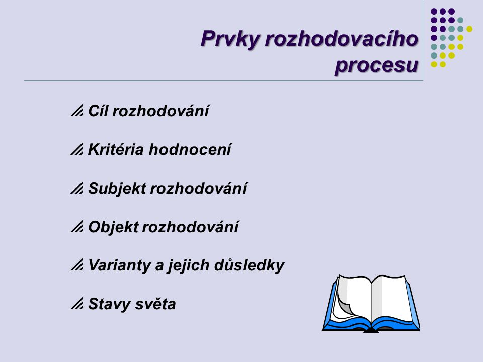 Prvky rozhodovacího procesu  Cíl rozhodování  Kritéria hodnocení  Subjekt rozhodování  Objekt rozhodování  Varianty a jejich důsledky  Stavy svě