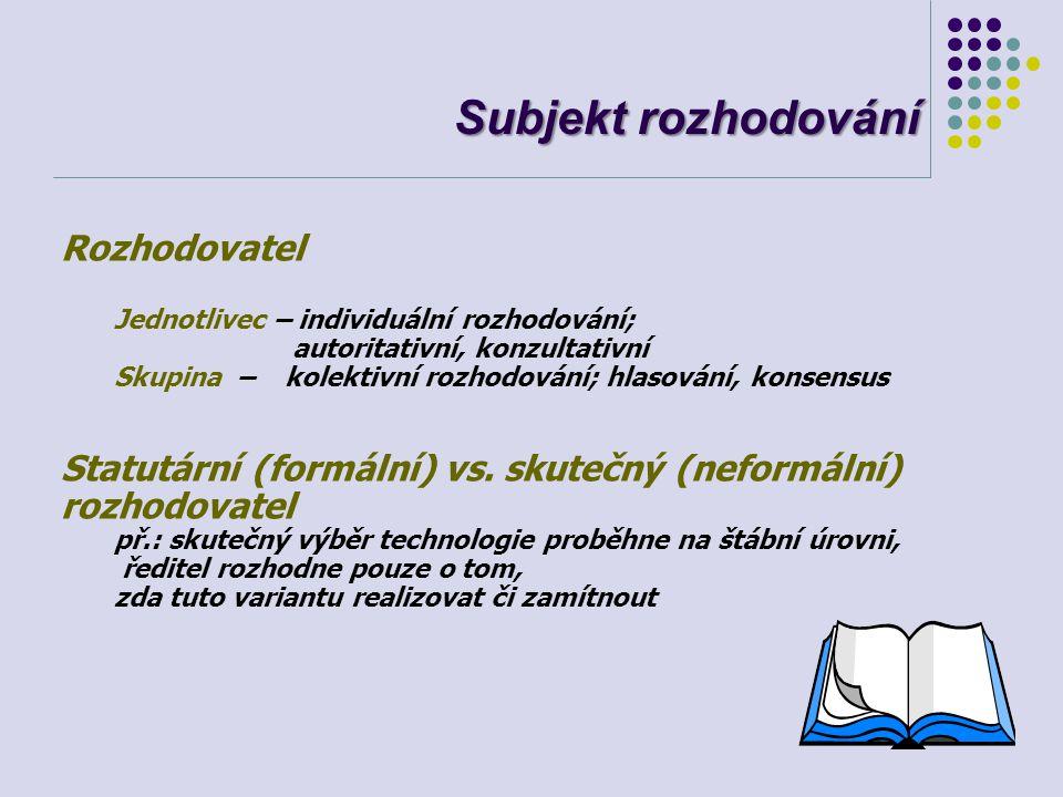 Subjekt rozhodování Rozhodovatel Jednotlivec – individuální rozhodování; autoritativní, konzultativní Skupina – kolektivní rozhodování; hlasování, kon