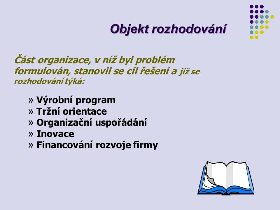 Objekt rozhodování Část organizace, v níž byl problém formulován, stanovil se cíl řešení a jíž se rozhodování týká: » Výrobní program » Tržní orientac