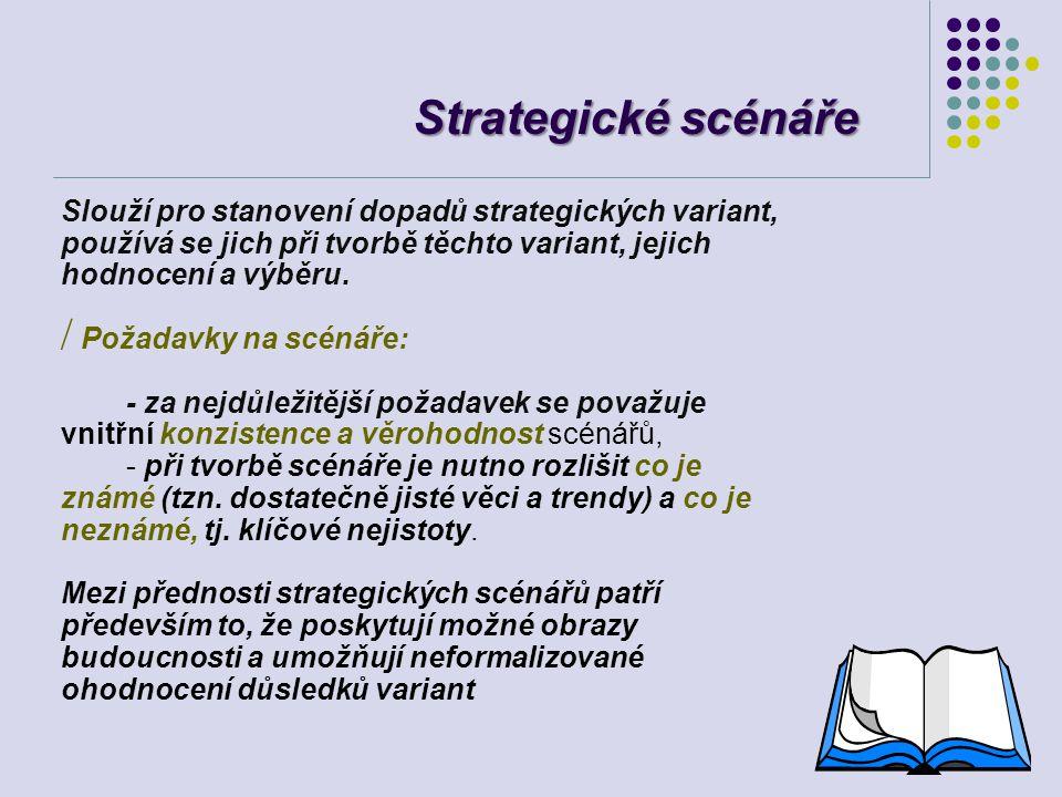 Strategické scénáře Slouží pro stanovení dopadů strategických variant, používá se jich při tvorbě těchto variant, jejich hodnocení a výběru. / Požadav