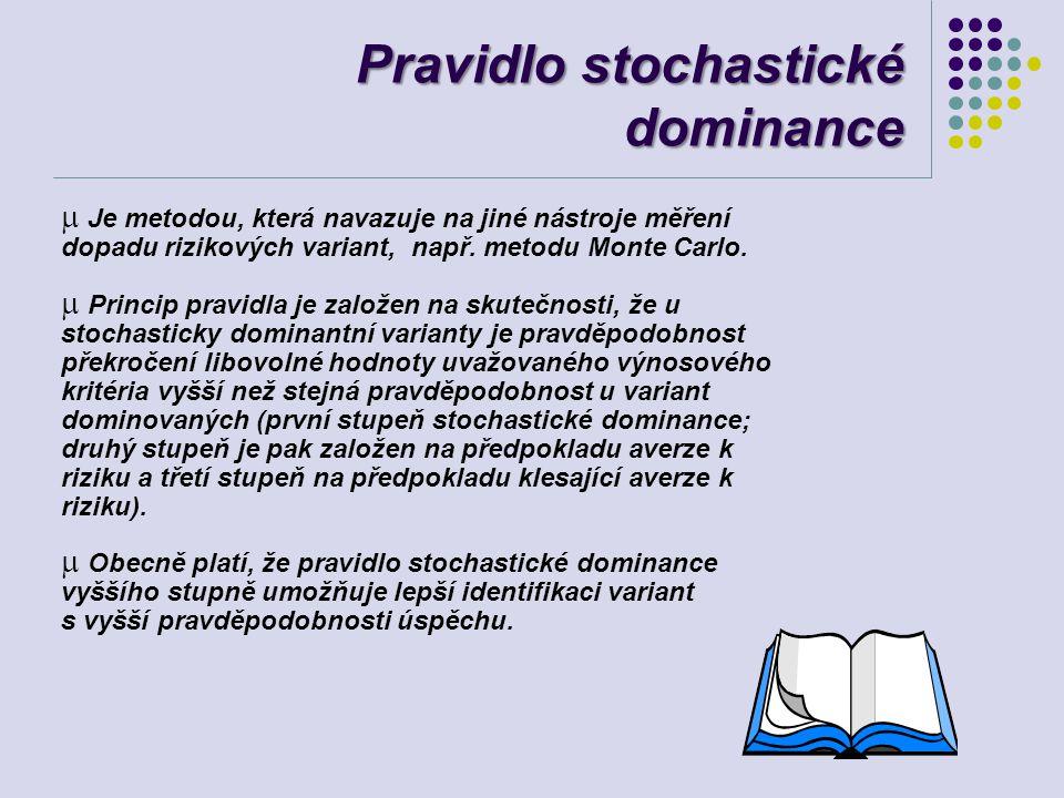 Pravidlo stochastické dominance  Je metodou, která navazuje na jiné nástroje měření dopadu rizikových variant, např. metodu Monte Carlo. m Princip pr