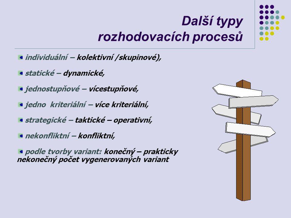 Další typy rozhodovacích procesů individuální – kolektivní /skupinové), statické – dynamické, jednostupňové – vícestupňové, jedno kriteriální – více k