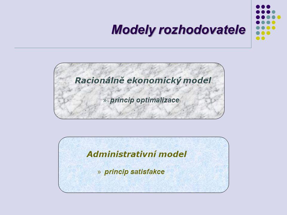 Modely rozhodovatele Racionálně ekonomický model Administrativní model »princip optimalizace »princip satisfakce
