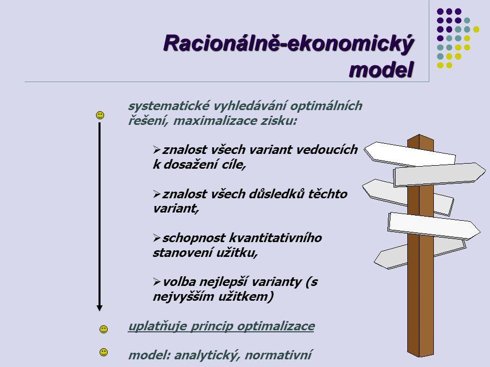 Racionálně-ekonomický model systematické vyhledávání optimálních řešení, maximalizace zisku:  znalost všech variant vedoucích k dosažení cíle,  znal