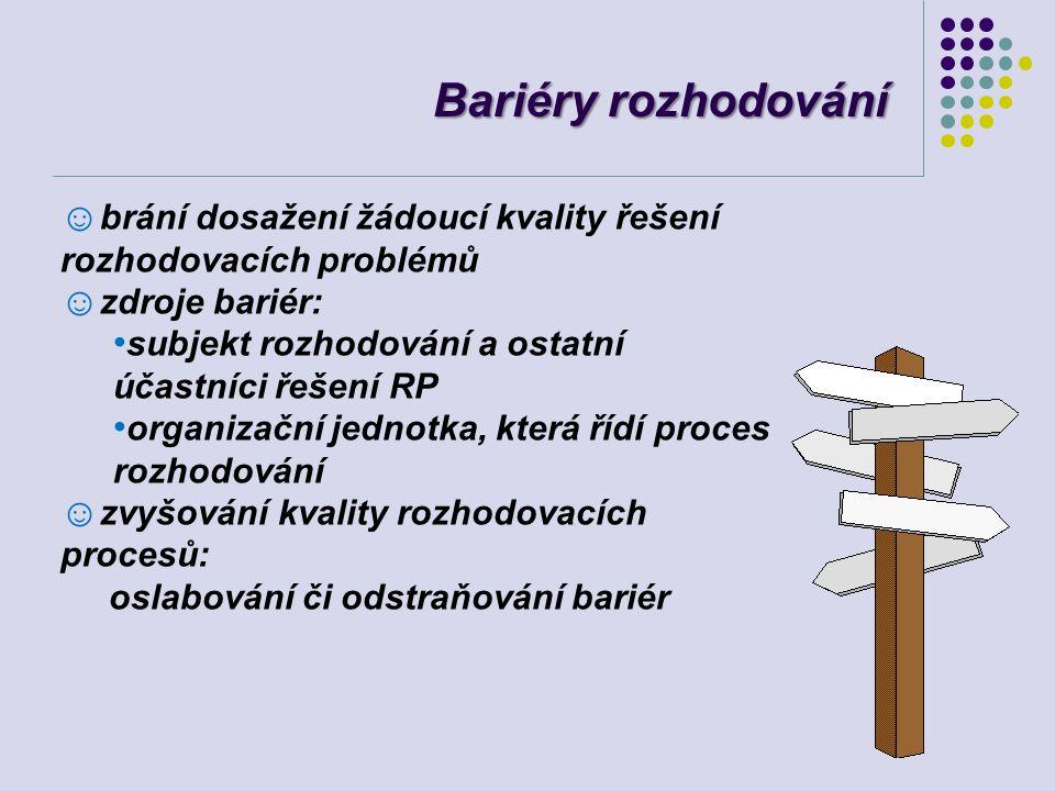 Bariéry rozhodování ☺ brání dosažení žádoucí kvality řešení rozhodovacích problémů ☺ zdroje bariér: subjekt rozhodování a ostatní účastníci řešení RP