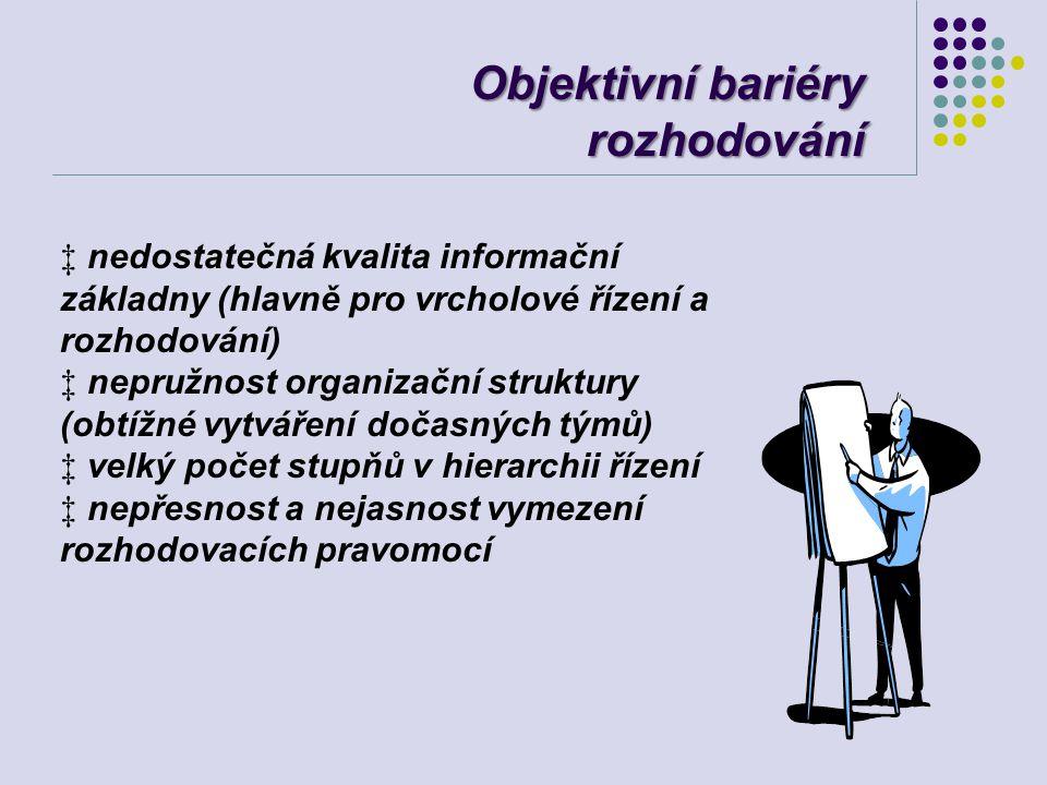 Objektivní bariéry rozhodování ‡ nedostatečná kvalita informační základny (hlavně pro vrcholové řízení a rozhodování) ‡ nepružnost organizační struktu