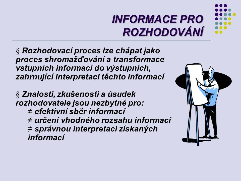 INFORMACE PRO ROZHODOVÁNÍ § Rozhodovací proces lze chápat jako proces shromažďování a transformace vstupních informací do výstupních, zahrnující inter