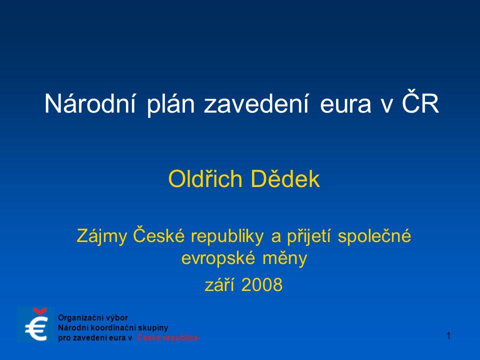 1 Národní plán zavedení eura v ČR Oldřich Dědek Zájmy České republiky a přijetí společné evropské měny září 2008 Organizační výbor Národní koordinační
