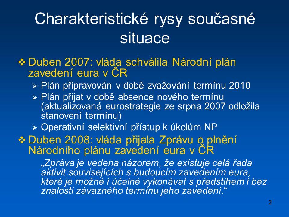 3 Obecný zákon o zavedení eura  Účel zákona  Vytvoření obecných právních předpokladů pro zavedení eura  Pokrytí nejzávažnějších právních aspektů při přechodu na euro  Obecné principy  Finanční neutralita přechodu na euro (zavedení eura není měnová reforma !)  Kontinuita smluvních závazků (zavedení eura nemůže být důvodem k vypovídání či pozměňování uzavřených smluv)  Ochrana spotřebitele (před neodůvodněným zdražováním)  Přiměřenost nákladů pro subjekty soukromého sektoru  Nepoškození občana státem  Konkurenční vztah (trade-off) mezi některými cíly