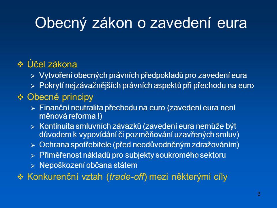 3 Obecný zákon o zavedení eura  Účel zákona  Vytvoření obecných právních předpokladů pro zavedení eura  Pokrytí nejzávažnějších právních aspektů př