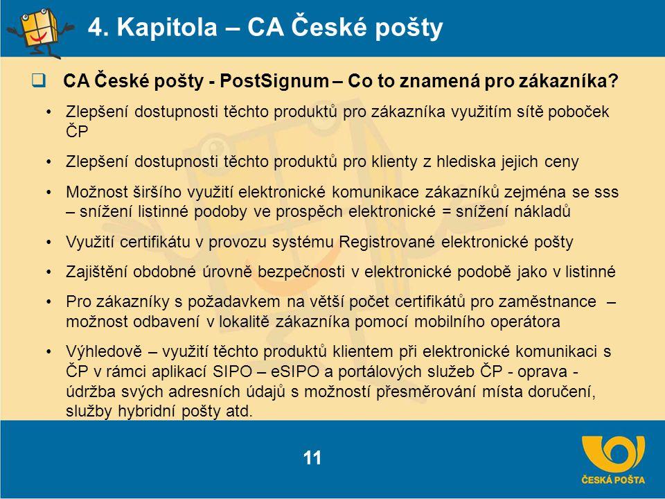 4. Kapitola – CA České pošty  CA České pošty - PostSignum – Co to znamená pro zákazníka? 11 Zlepšení dostupnosti těchto produktů pro zákazníka využit