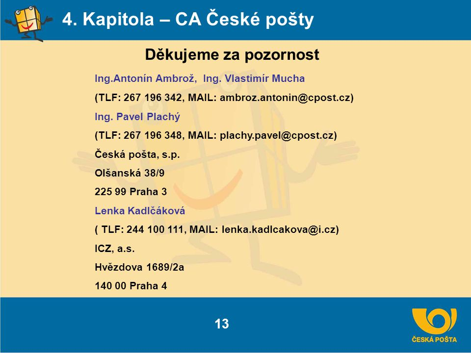 4. Kapitola – CA České pošty Děkujeme za pozornost Ing.Antonín Ambrož, Ing. Vlastimír Mucha (TLF: 267 196 342, MAIL: ambroz.antonin@cpost.cz) Ing. Pav