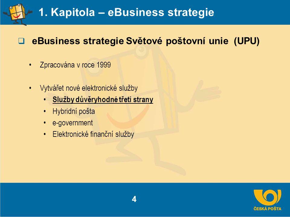 1. Kapitola – eBusiness strategie  eBusiness strategie Světové poštovní unie (UPU) 4 Zpracována v roce 1999 Vytvářet nové elektronické služby Služby