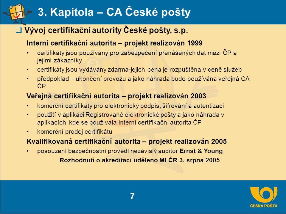 3. Kapitola – CA České pošty  Vývoj certifikační autority České pošty, s.p. 7 Interní certifikační autorita – projekt realizován 1999 certifikáty jso