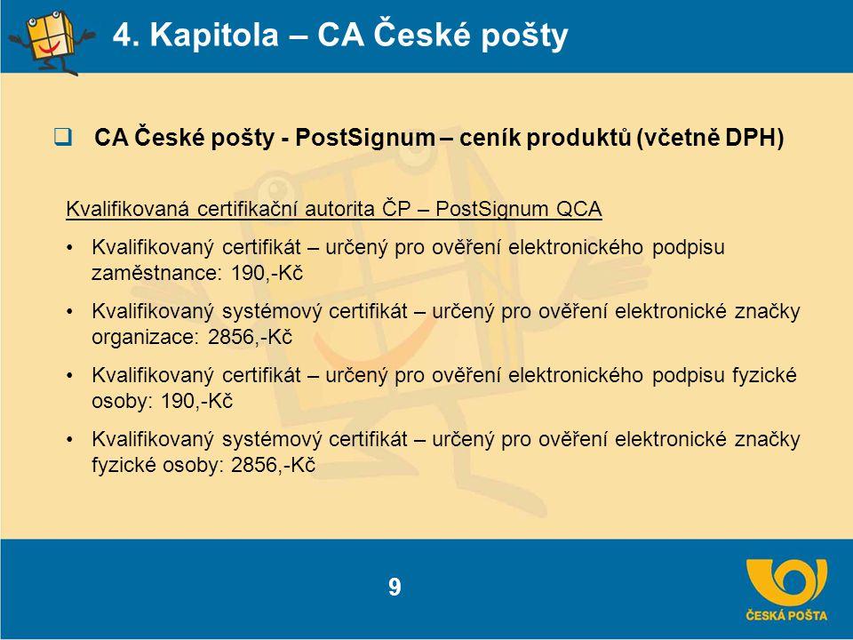 4. Kapitola – CA České pošty  CA České pošty - PostSignum – ceník produktů (včetně DPH) 9 Kvalifikovaná certifikační autorita ČP – PostSignum QCA Kva