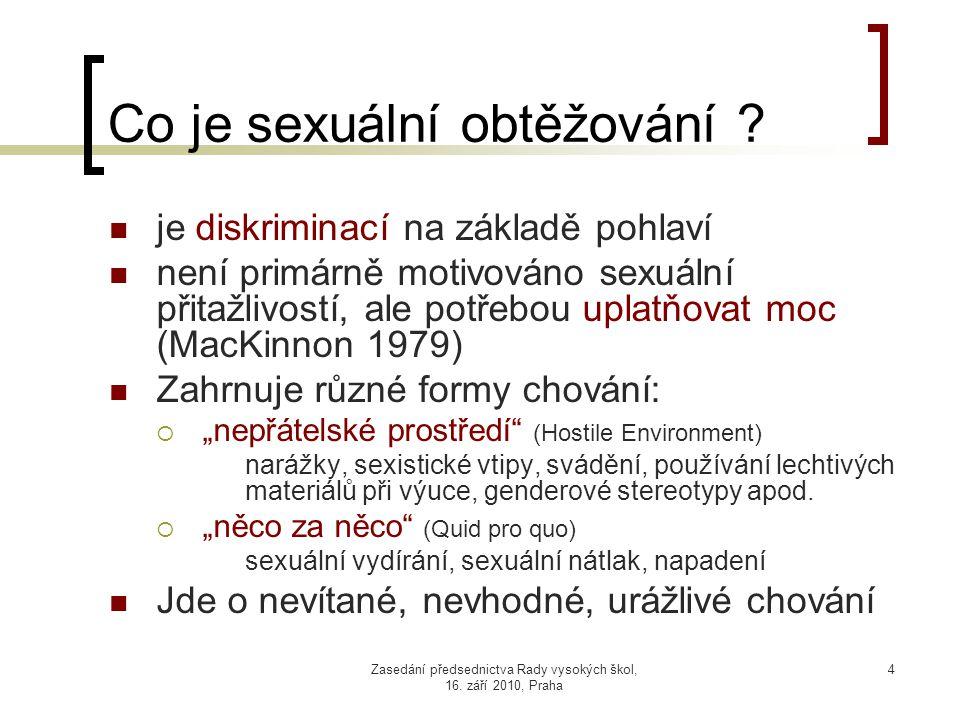 Zasedání předsednictva Rady vysokých škol, 16. září 2010, Praha 4 Co je sexuální obtěžování .