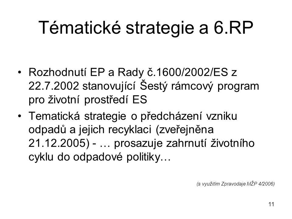 11 Tématické strategie a 6.RP Rozhodnutí EP a Rady č.1600/2002/ES z 22.7.2002 stanovující Šestý rámcový program pro životní prostředí ES Tematická strategie o předcházení vzniku odpadů a jejich recyklaci (zveřejněna 21.12.2005) - … prosazuje zahrnutí životního cyklu do odpadové politiky… (s využitím Zpravodaje MŽP 4/2006)