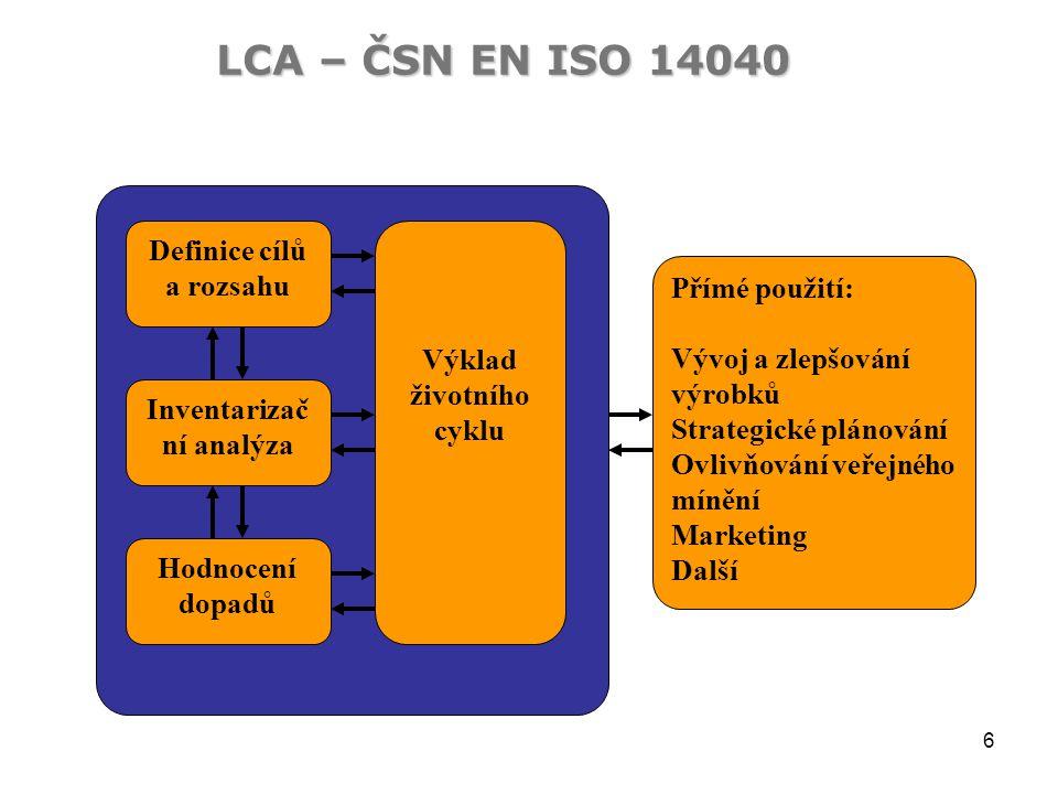 6 LCA – ČSN EN ISO 14040 Definice cílů a rozsahu Inventarizač ní analýza Hodnocení dopadů Výklad životního cyklu Přímé použití: Vývoj a zlepšování výrobků Strategické plánování Ovlivňování veřejného mínění Marketing Další