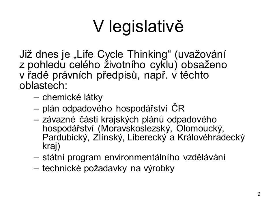 """9 V legislativě Již dnes je """"Life Cycle Thinking (uvažování z pohledu celého životního cyklu) obsaženo v řadě právních předpisů, např."""