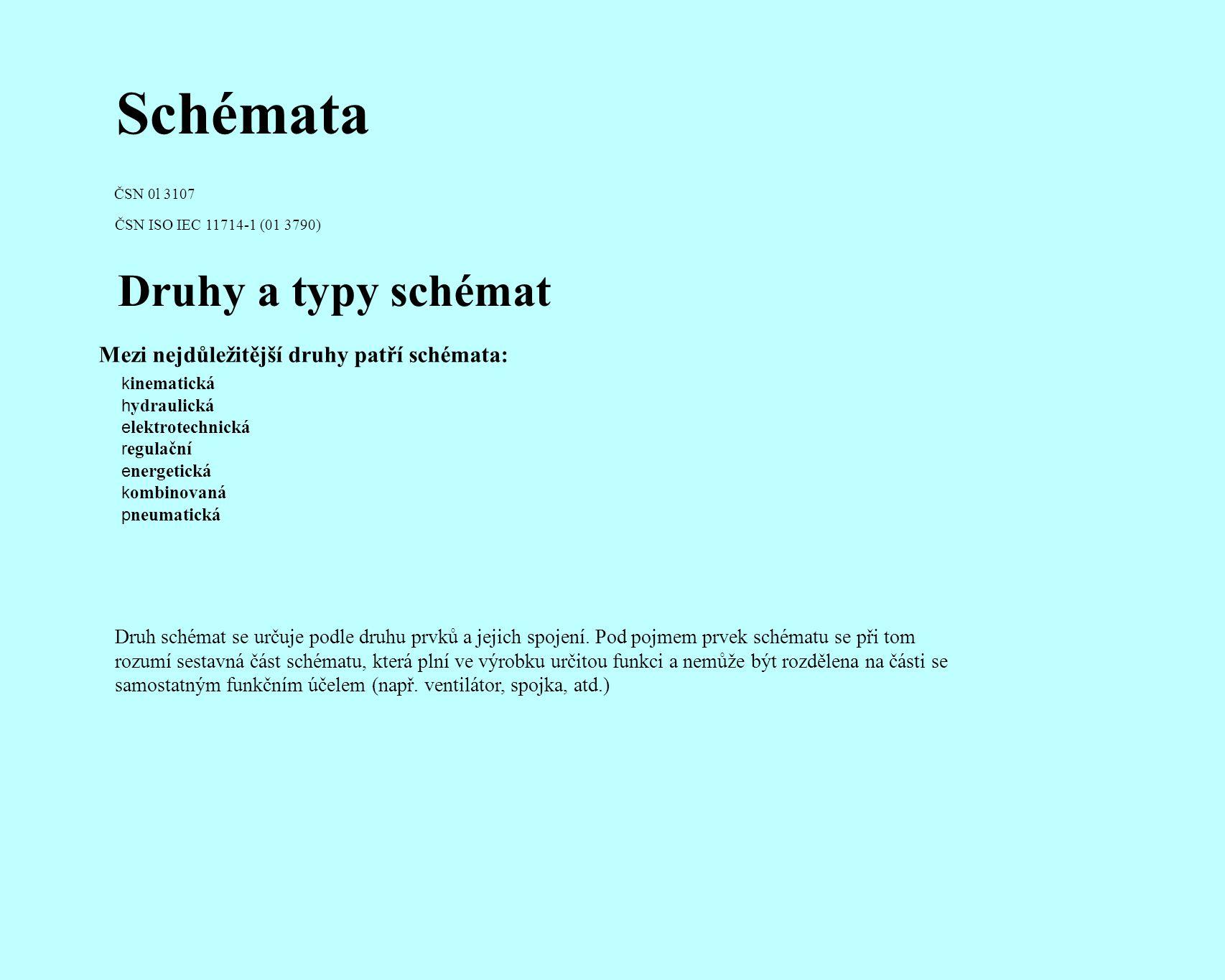 Schémata ČSN 0l 3107 ČSN ISO IEC 11714-1 (01 3790) Druhy a typy schémat k inematická h ydraulická e lektrotechnická r egulační e nergetická k ombinova
