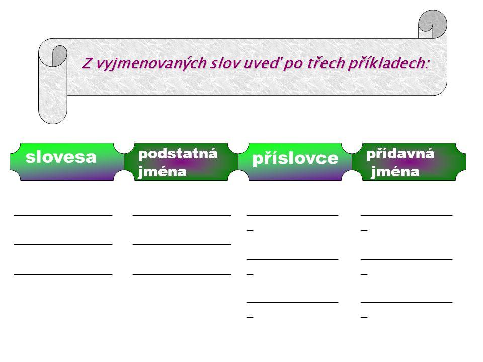 Z vyjmenovaných slov uveď po třech příkladech: slovesa podstatná jména příslovce přídavná jména _______________