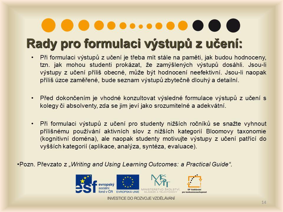 14 Rady pro formulaci výstupů z učení: Při formulaci výstupů z učení je třeba mít stále na paměti, jak budou hodnoceny, tzn.