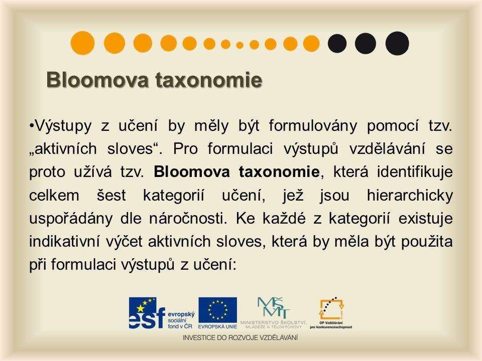 Bloomova taxonomie Výstupy z učení by měly být formulovány pomocí tzv.