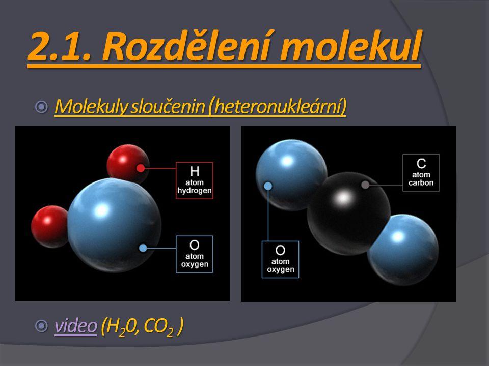 2.1. Rozdělení molekul  Molekuly sloučenin ( heteronukleární)  video (H 2 0CO 2 )  video (H 2 0, CO 2 ) video
