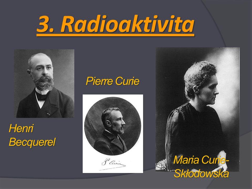 3. Radioaktivita Henri Becquerel Pierre Curie Maria Curie- Skłodowska
