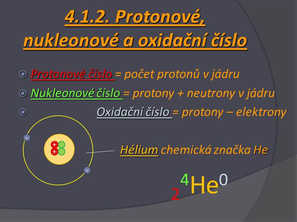 4.1.2. Protonové, nukleonové a oxidační číslo  Protonové číslo  Protonové číslo = počet protonů v jádru  Nukleonové číslo  Nukleonové číslo = prot