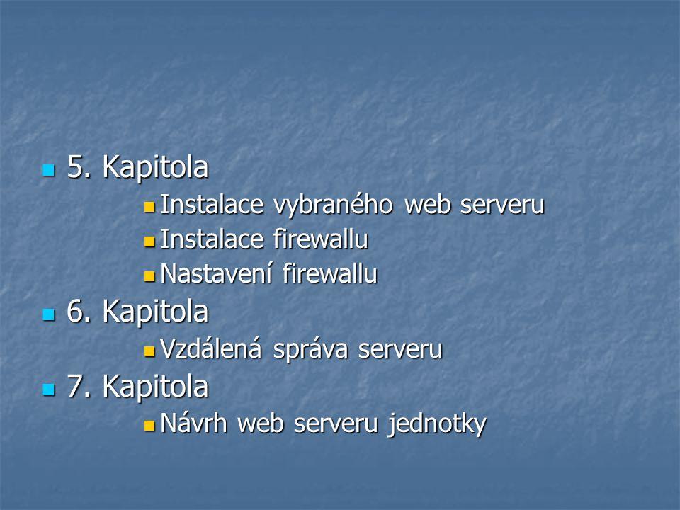 5. Kapitola 5. Kapitola Instalace vybraného web serveru Instalace vybraného web serveru Instalace firewallu Instalace firewallu Nastavení firewallu Na